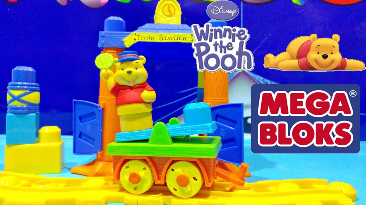 5866fb14d565 Winnie the Pooh Mega Bloks Disney Buildable Train Station Toy Build the  World Building Blocks Toy