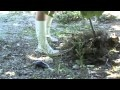 gardening in rubber boots