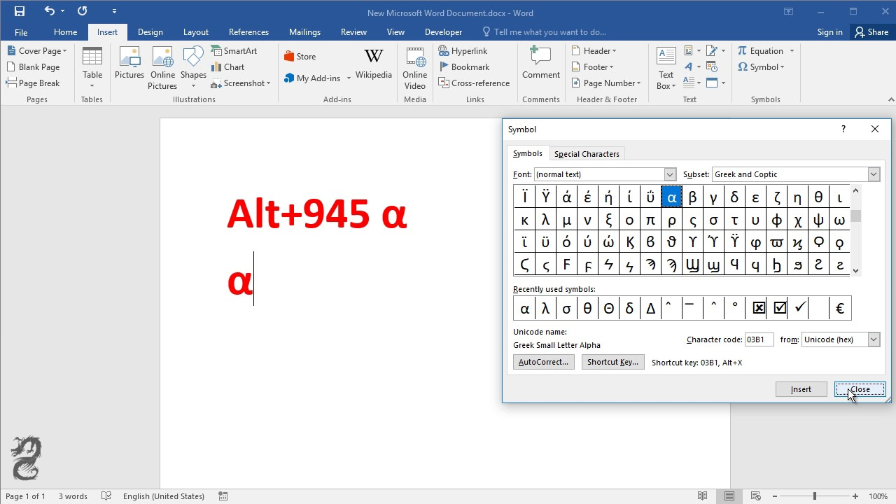 How To Type Alpha Symbol In Word Youtube