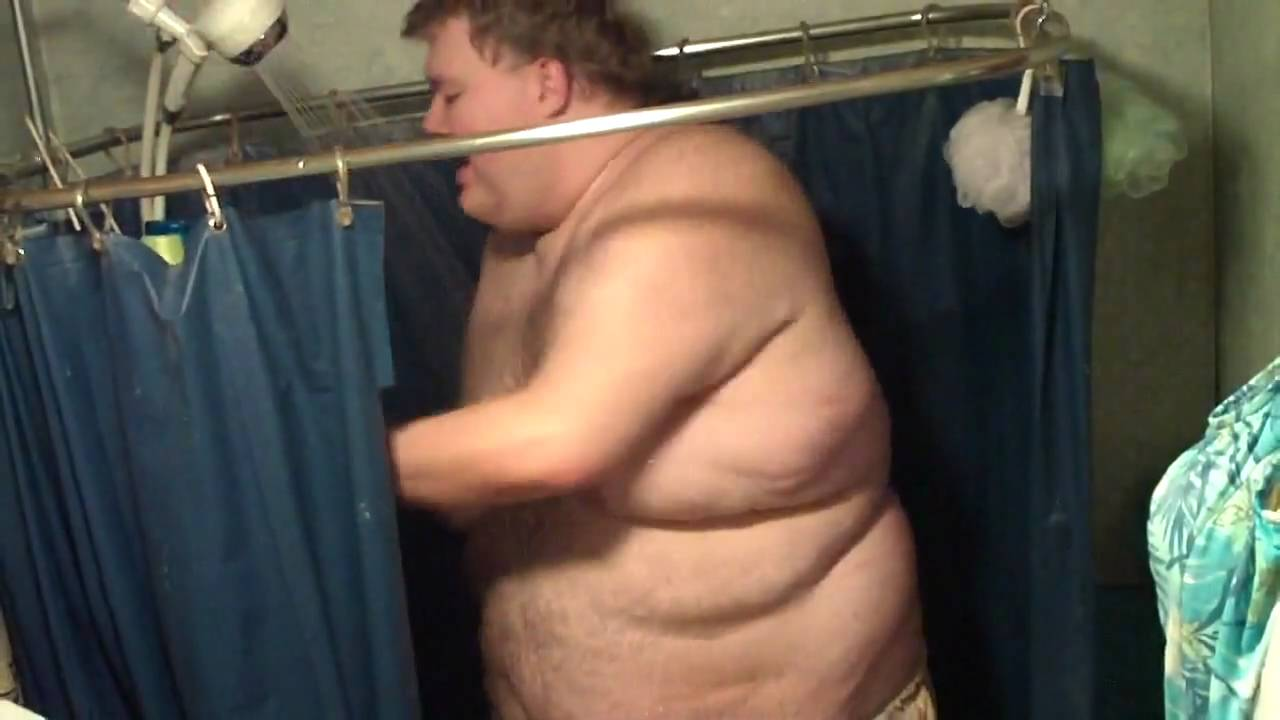 fat naked in shower