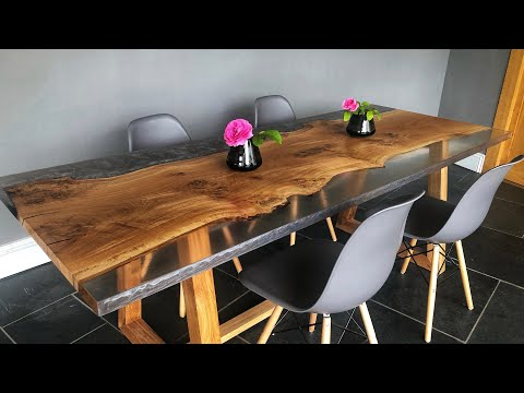 English Oak Clear & Grey Resin Dinning Table