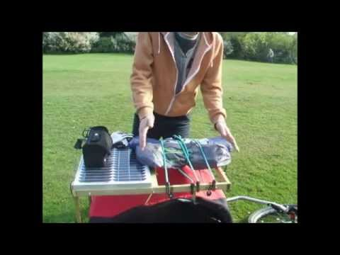 D.I.Y. bicycle trailer rack with solar panel