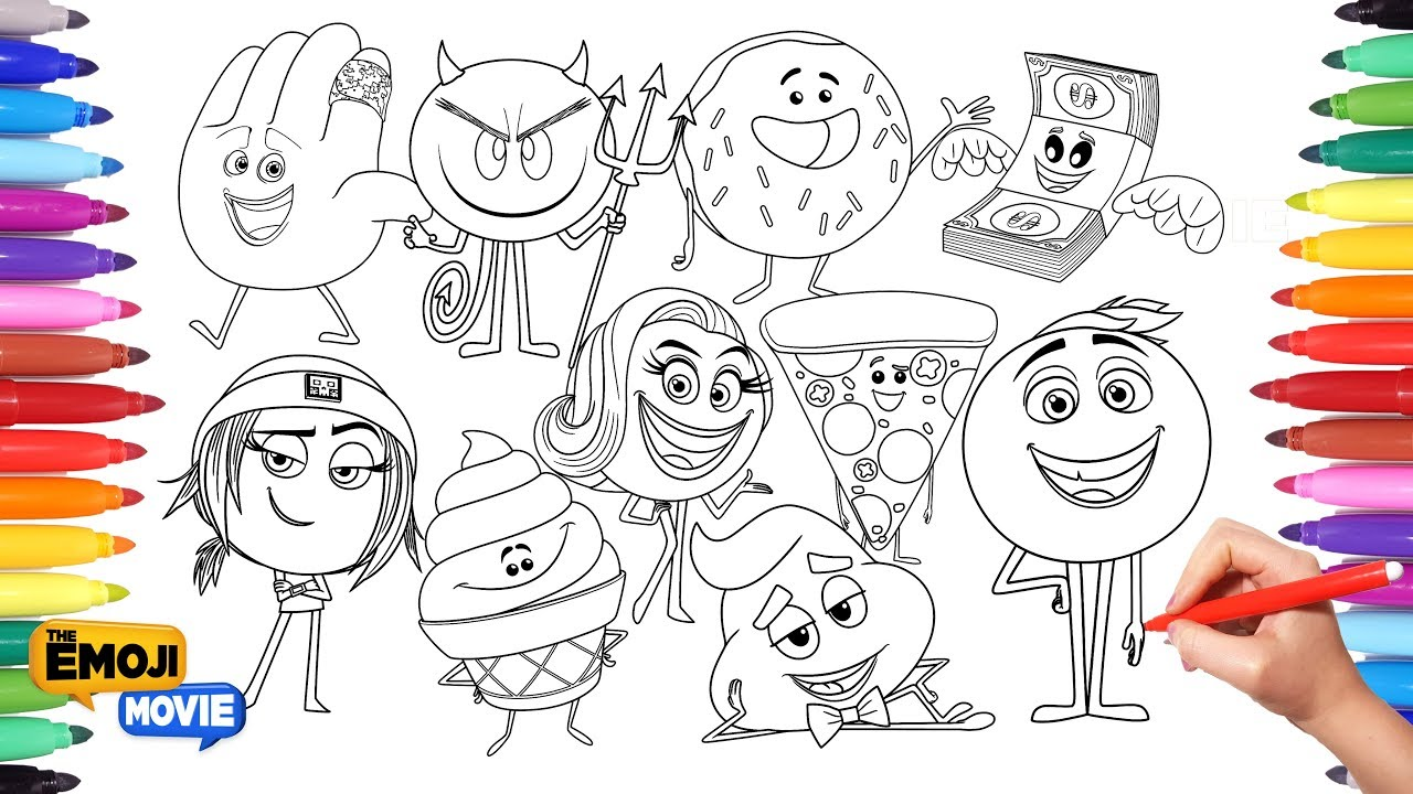 the emoji movie coloring pages for kids drawing and painting