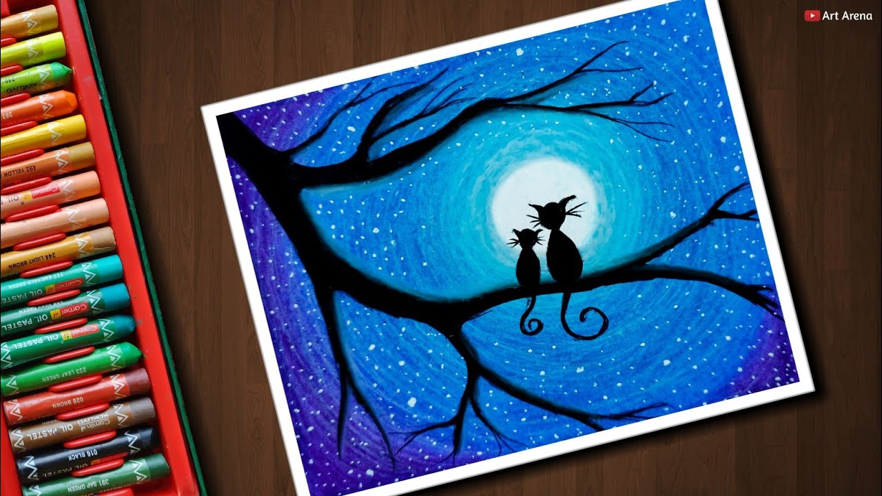 Easy Cat Moonlight Scenery Drawing With Oil Pastels Step