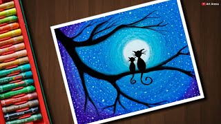 Easy Cat Moonlight scenery drawing with Oil Pastels - step by step