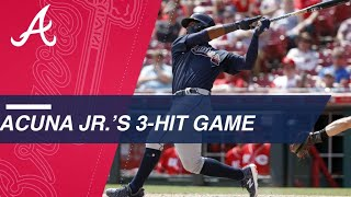 Ronald Acuna Jr. hits homer, three hits vs. Reds