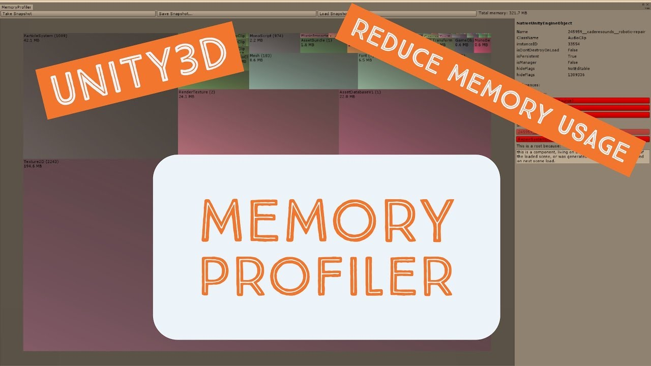 Unity3D - Reduce memory footprint with the Memory Profiler by Unity3d College
