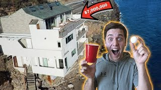 PING PONG TRICK SHOT BATTLE IN MALIBU BEACH MANSION!