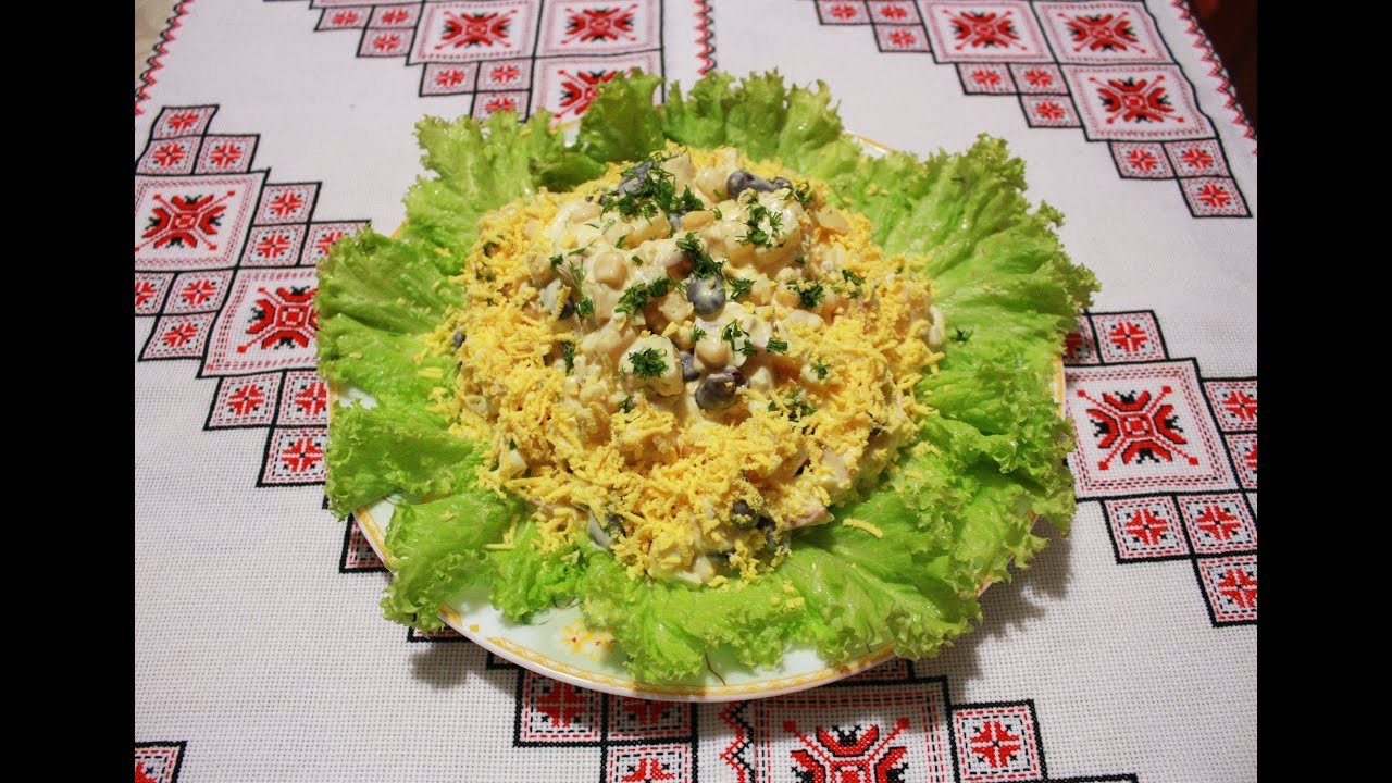 Салат рецепт с фасолью,ананасами,кукурузой и ветчиной ...