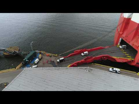 Aerial View of Cars being unloaded in the Port of Philadelphia PA
