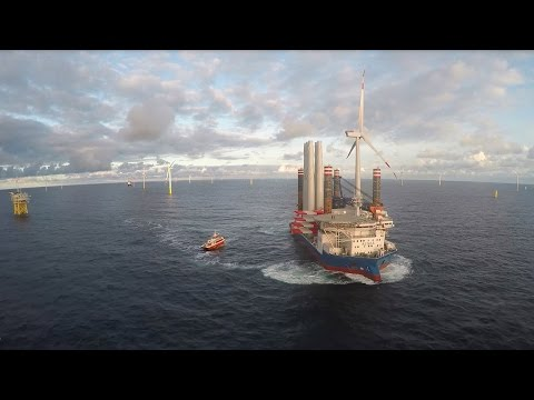 Installing wind turbines at Borkum Riffgrund 1 Offshore Wind Farm