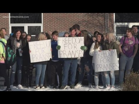 Carrabec High School students in protest for teacher