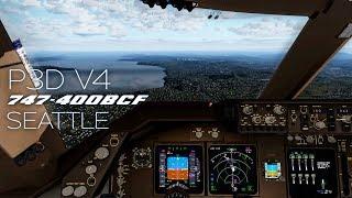P3D V4 | PMDG 747 Seattle Morning Approach and Landing | HD New Sim Settings Test