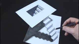 STAIRS MINIMAL ART 3D - How to Make a Simple 3D Stairs Illusion