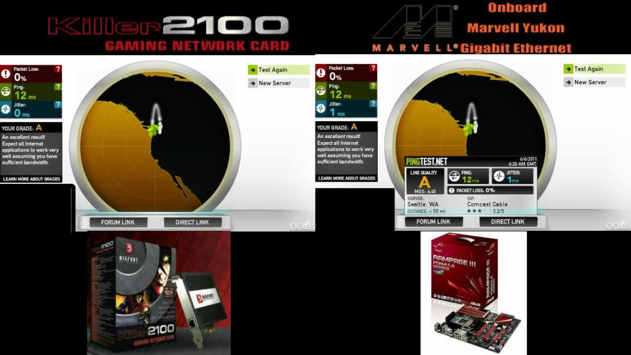 Big Foot Killer 2100 Vs Marvell Yukon Gigabit Ethernet Review