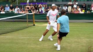 Rafael Nadal plays tennis football after practice at Wimbledon on 1st July 2010 (2nd of 2 videos)