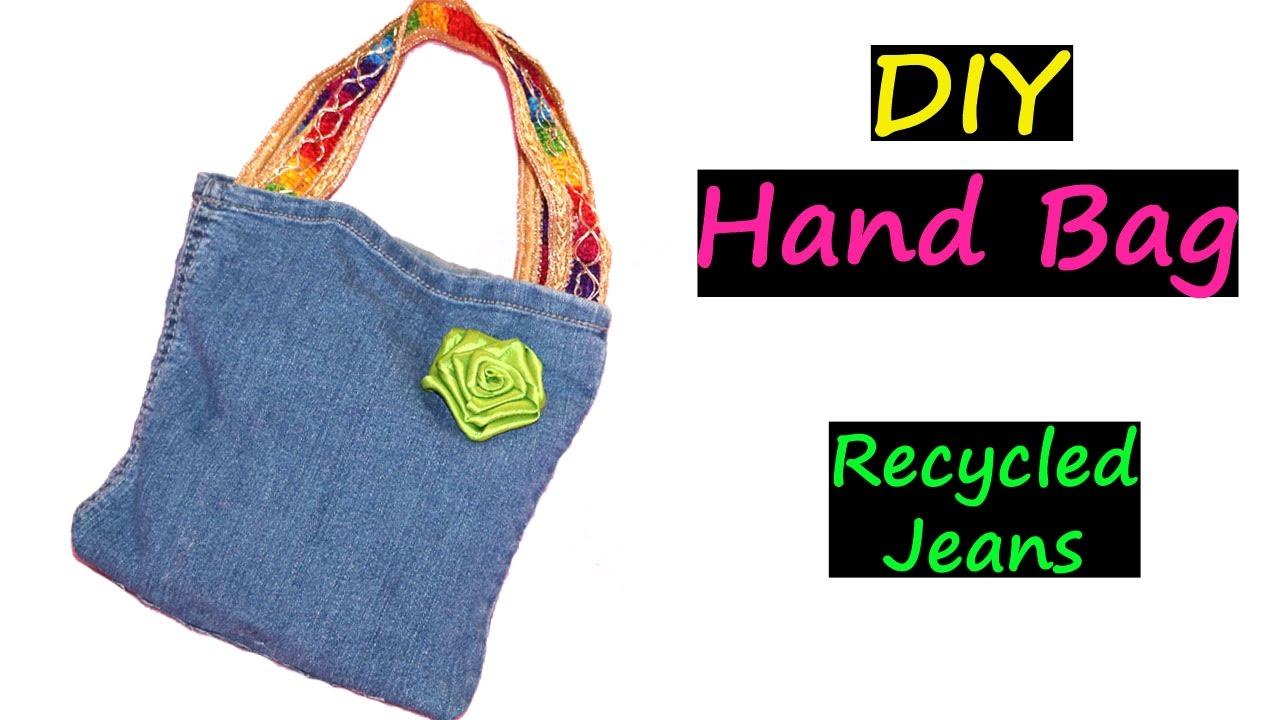 a5dae3b15d6 DIY Bags   Recycled Jeans   No Sew   Very EASY   Denim Handbag - YouTube