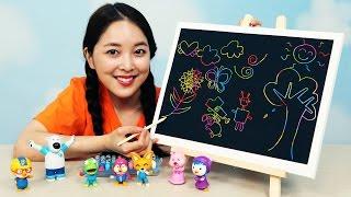 [유라] 장난감(toy)_까만 크레파스 그림 그리기 색칠 공부 미술 스크래치 놀이 뽀로로 black color crayon art scratch クレパス