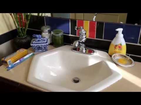 makeup-vanity-mirror-cabinet-victrola-antique-art-tiles-kohler-sink