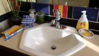 Makeup Vanity Mirror Cabinet Victrola Antique Art Tiles Kohler Sink