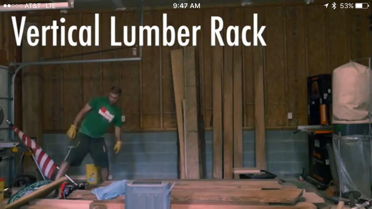 Vertical lumber rack youtube for Vertical lumber storage rack