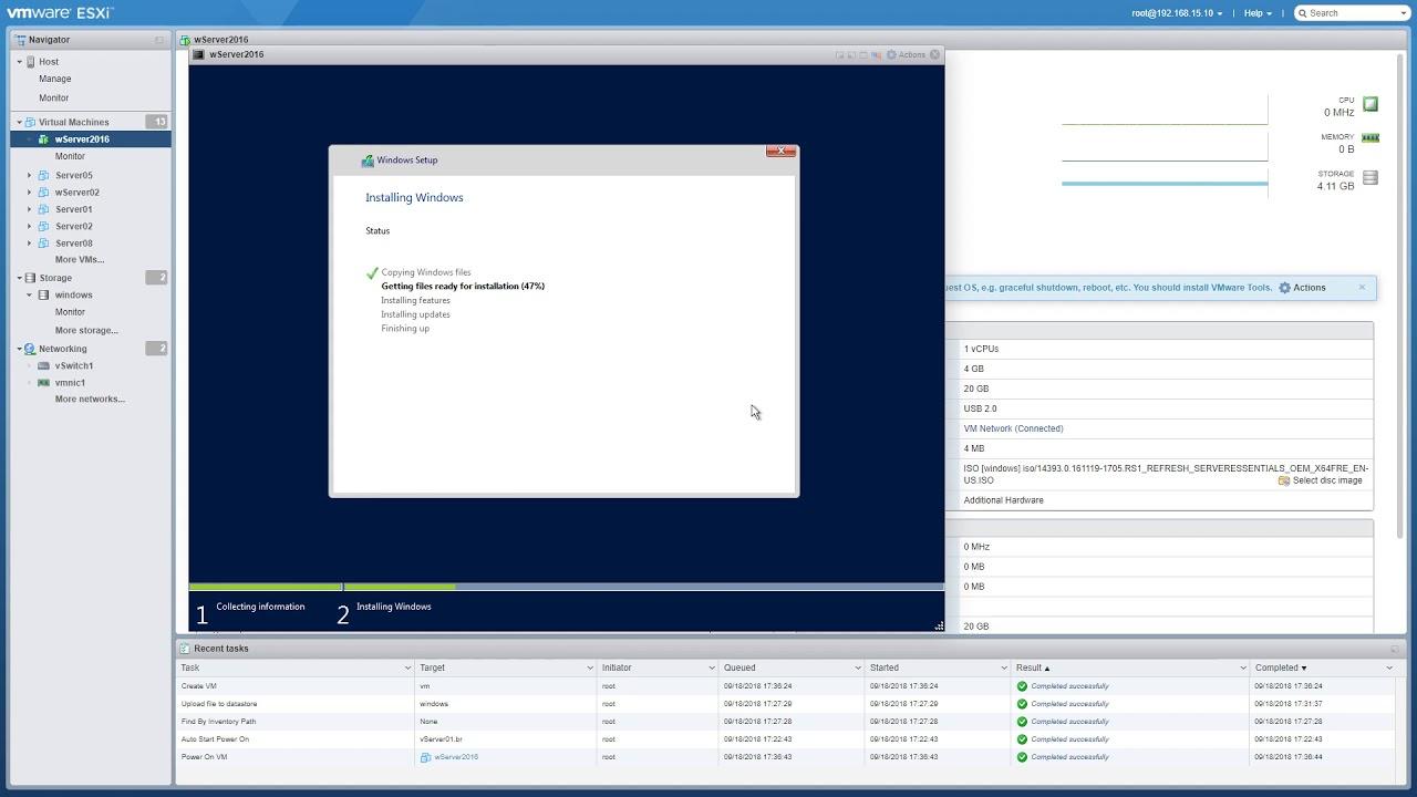 Installing Windows Server 2016 on ESXi 6 7