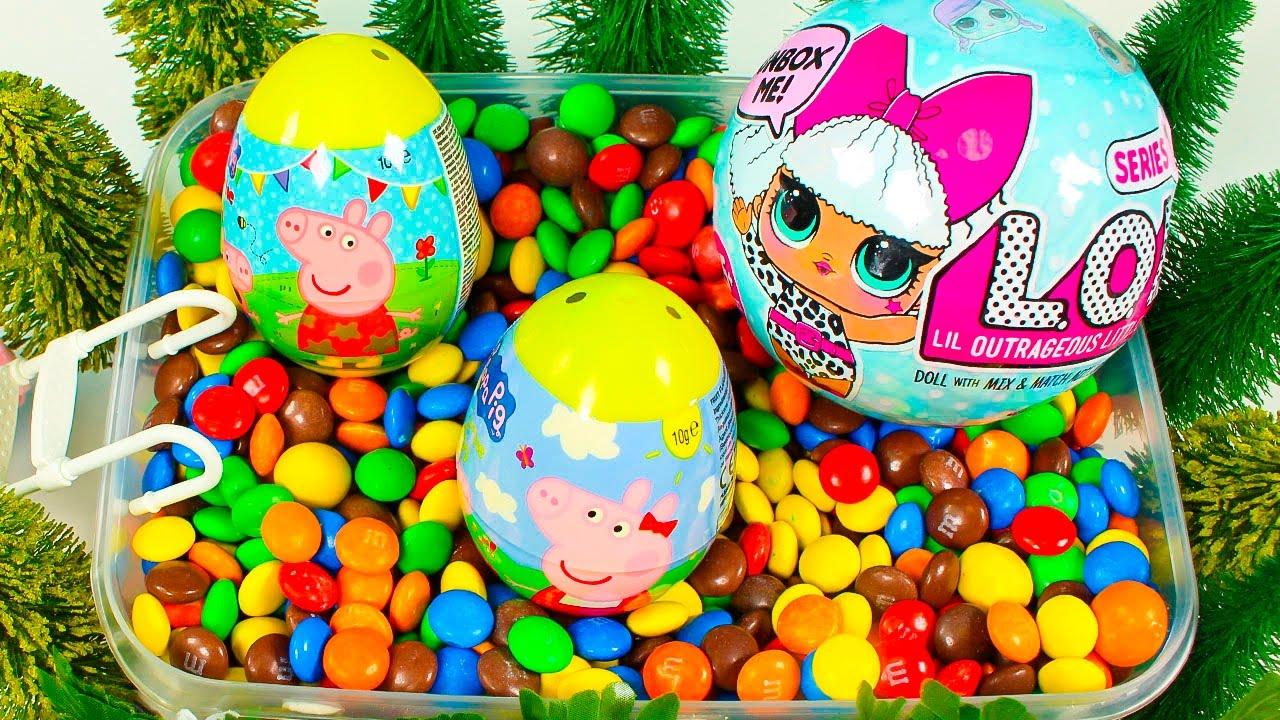 Huevos sorpresa peppa pig en la piscina de sorpresas con for Peppa pig en la piscina