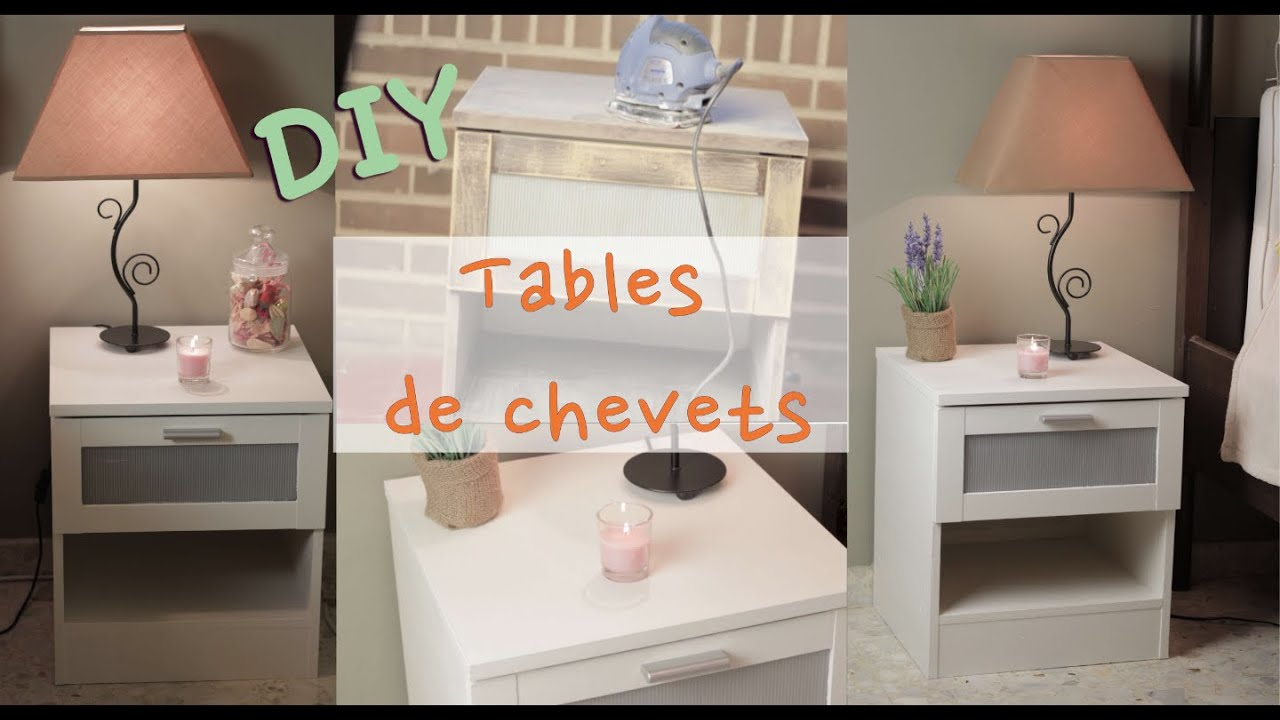 Relooker des tables de chevets youtube - Customiser une table en bois ...