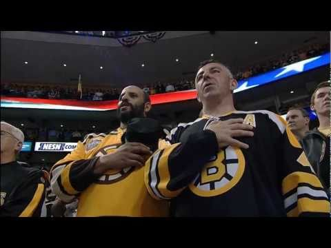 Bruins fans sing the Anthem with Rene Rancourt at the Cup Finals, Game 6 6/13/11