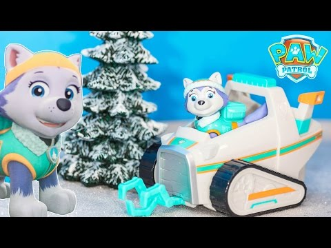 PAW PATROL Nickelodeon Everest Snow Mobile Rescue Vehicle Toys Video Unboxing