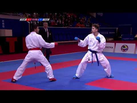 Karate Male Kumite -60kg. Noah Pisino Of Switzerland Vs Eray Samdan Of Turkey
