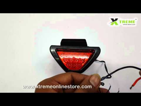 12 LED Triangle Red Brake Light With Flash mode for Cars and Bikes