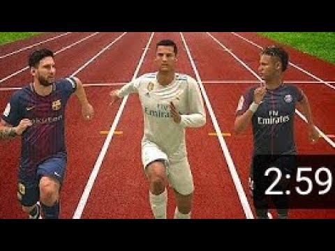 Fifa 18 speed test  Messi vs Ronaldo vs Neymar  FootZ