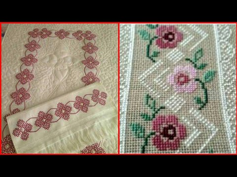 Most Beautiful Cross Stitch Pettern For Table Cover And Bedsheets