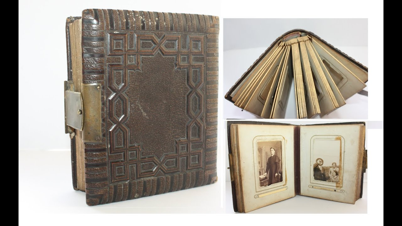 antique leather bound photo album gold leaf and