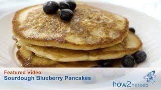 Fluffy Sourdough Blueberry Pancakes