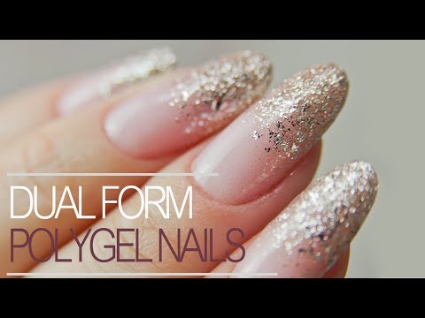 How to Use Dual Forms | Easiest PolyGel Nails with Glitter Fade