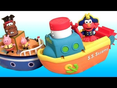 Peppa Pig Pool Party with Captain Elmo & Pirate Mater Bath Water Toys Sesame Street Nickelodeon