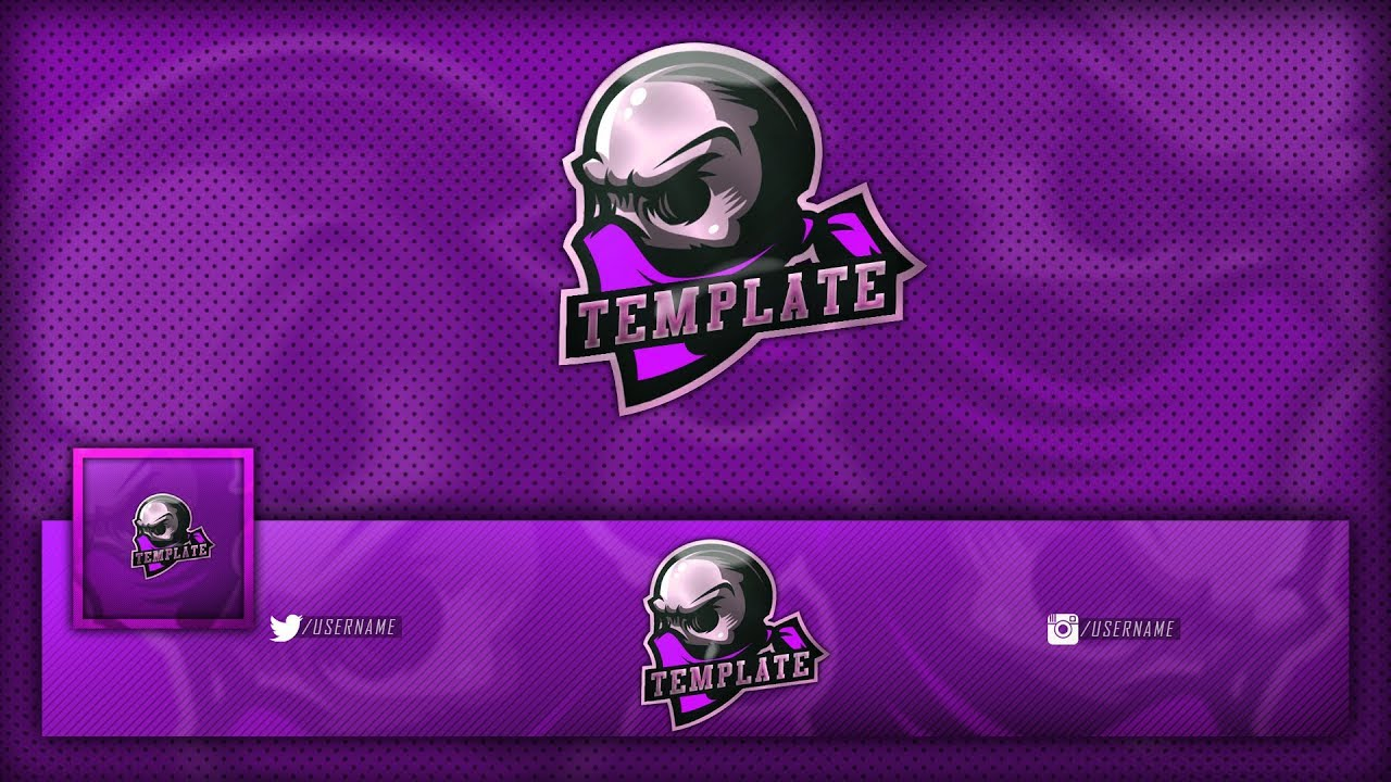 FREE Gaming/Clan Skull Mascot Logo / Banner / Avatar Template | MULTIPLE  COLORS