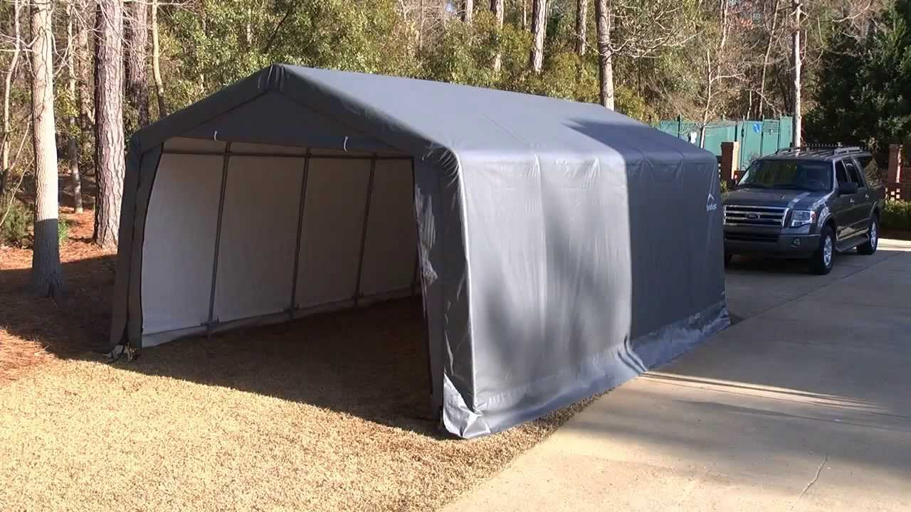 10x20 Portable Carport Failure : Shelterlogic garage in a box youtube