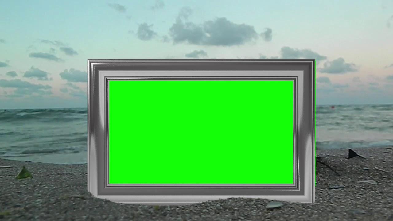 Green Screen Photo Frame On A Beach