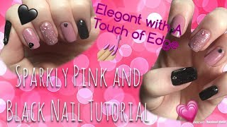 Sparkly Pink and Black Nail Tutorial | Pure Ice | Sally Hansen |