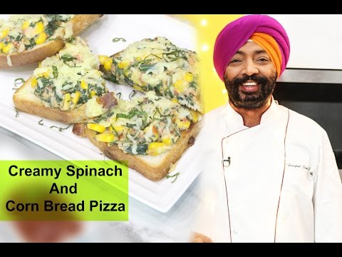 How to Make-Creamy Spinach and Corn bread pizza