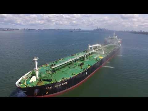 DJI phantom 3s, NYC Harbor, Oil Tanker New Challenge, NYC Skyline
