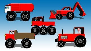 Red Vehicles For Kids - Dump Truck, Fire Engine, Garbage Truck, Monster Truck, Tractor and Backhoe