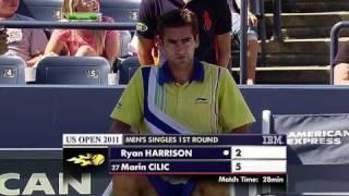 US Open 2011   Men's Singles   1st Round   Harrison vs Cilic Part 4