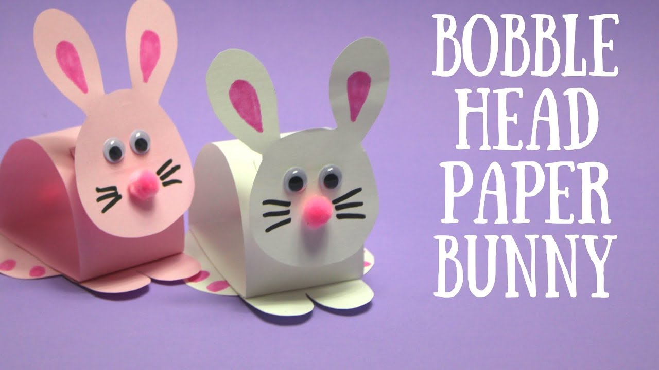 Bobble Head Paper Bunny Easter Craft Ideas Youtube