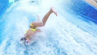 Spectacular Crashes! Mermaids & Models on a Flowrider / Surf Machine