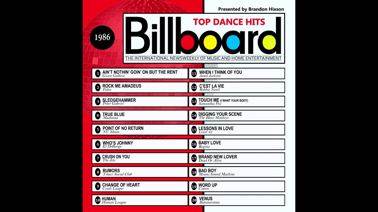 Billboard top dance hits 1986 youtube for Dance music 1989
