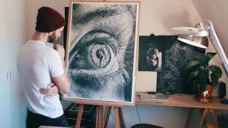 "Jono Dry pencil drawing ""Pupil"""